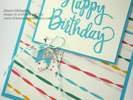 Stampin' Up! Festive Birthday DSP & Stylized Birthday stamp set card created by Dawn Olchefske for DOstamperSTARS Thursday Challenge #DSC203 #dostamping