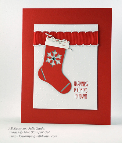 Hang Your Stocking Bundle swap card shared by Dawn Olchefske #dostamping (Julie Gunhs)