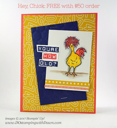 Stampin' Up! Hey Chick Sale-a-Bration free choice card shared by Dawn Olchefske #dostamping, Stampin' Up!