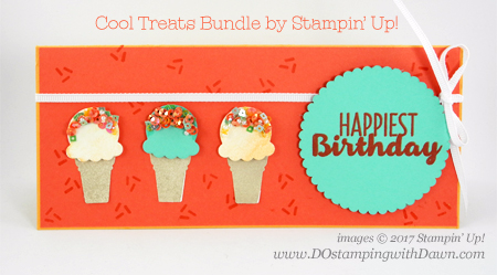 Stampin' Up! Cool Treat bundle & Sprinkles Embellishment trick shared by Dawn Olchefske #dostamping