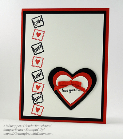 Valentine Swap card shared by Dawn Olchefske #dostamping (Glenda Travelstead)