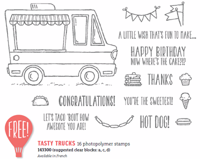 Stampin' Up! Sale-a-Bration Tasty Trucks FREE with $50 order, Shop with Dawn #dostamping