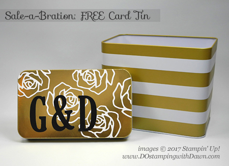 Stampin' Up! FREE Sale-a-Bration card tin shared by Dawn Olchefske #dostamping