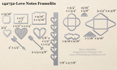 Stampin' Up! Love Notes Framelits Dies sizes shared by Dawn Olchefske #dostamping