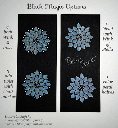 Stampin' Up! Flourishing Phrases Black Magic with a Wink & a Twist card optionsby Dawn Olchefske #dostamping