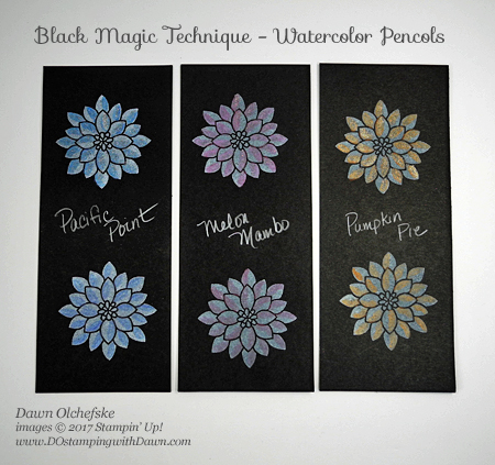 Stampin' Up! Flourishing Phrases Black Magic with a Wink & a Twist card color options by Dawn Olchefske #dostamping