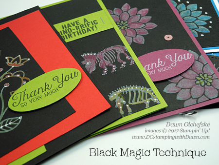 Stampin' Up! No Bones About It Black Magic with a Twist card createdby Dawn Olchefske #dostamping