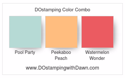 Stampin' Up! color combo Pool Party. Peekaboo Peach & Watermelon Wonder shared by Dawn Olchefske #dostamping