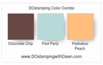 Stampin' Up! color combo: Chocolate Chip, Pool Party, Peekaboo Peach #dostamping
