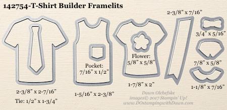 Stampin' Up! T-Shirt Builder Framelits Dies sizes shared by Dawn Olchefske #dostamping