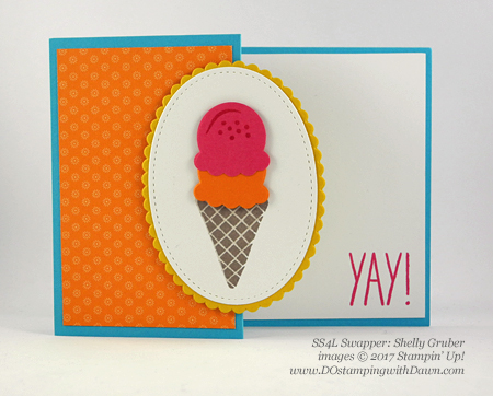 Stampin' Up! Cool Treats Bundle & Suite swap cards shared by Dawn Olchefske #dostamping (Shelly Gruber)