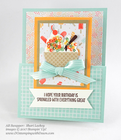 Stampin' Up! Cool Treats Bundle & Suite swap cards shared by Dawn Olchefske #dostamping (Shari Lackey)