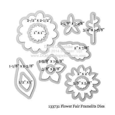 Flower Fair Framelit sizes shared by Dawn Olchefske #dostamping #stampinup