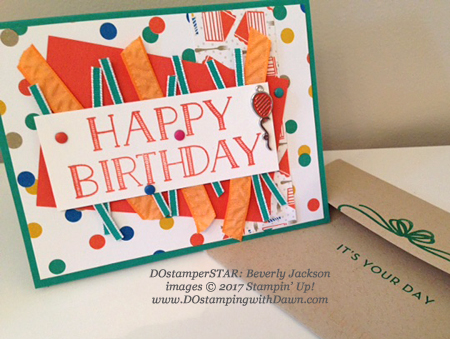 Stampin' Up! Party Animal Create & Play Kit for DOstamperSTARS shared by Dawn Olchefske #dostamping (Beverly Jackson)