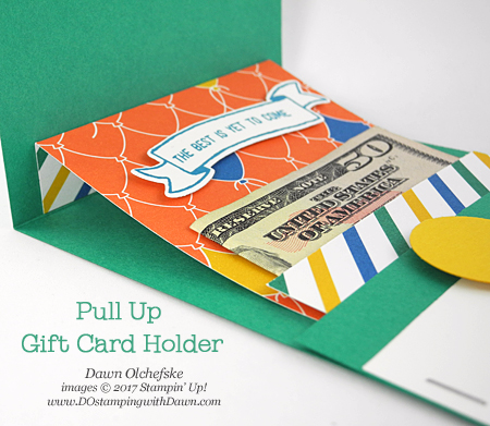 Pull-up Gift Card Holder with Party Animal Designer Series Paper by Dawn Olchefske #dostamping