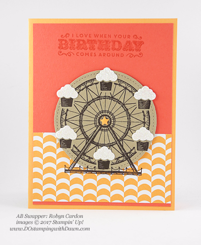 Stampin' Up! Carousel Birthday swap cards shared by Dawn Olchefske #dostamping (Robyn Cardon)
