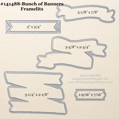 Bunch of Banners Framelits Dies sizes shared by Dawn Olchefske #dostamping #stampinup