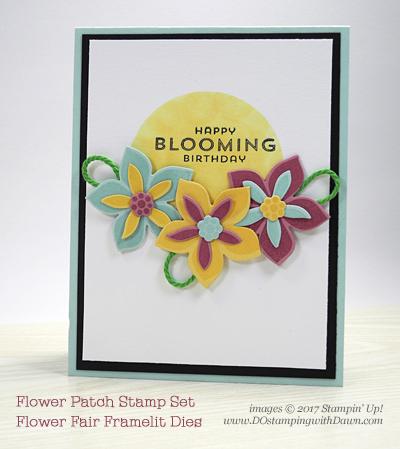 Stampin' Up! Flower Patch stamp set and Flower Fair Framelits Diesshared by Dawn Olchefske #dostamping