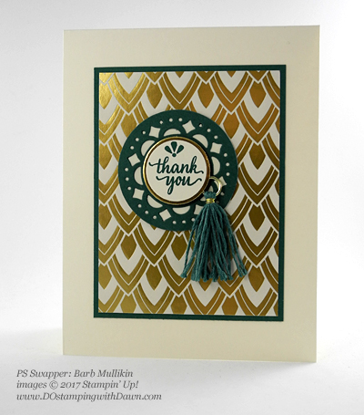 Stampin' Up! Eastern Palace Bundle swap cards shared by Dawn Olchefske #dostamping (Barb Mullikin)