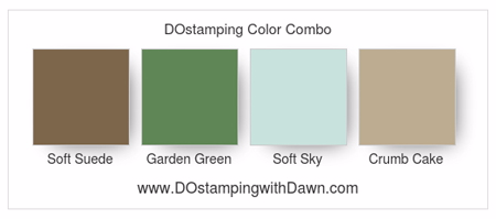 Stampin' Up! color combo Soft Suede, Garden Green, Soft Sky, Crumb Cake #dostamping
