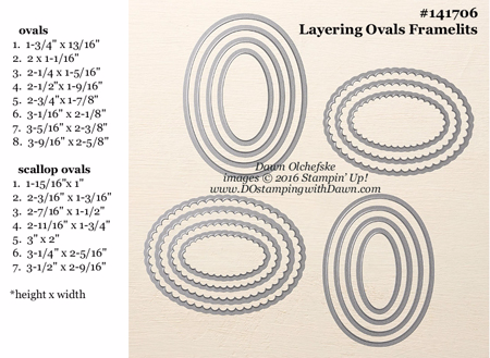Layering Ovals Framelits Dies sizes shared by Dawn Olchefske #dostamping #stampinup
