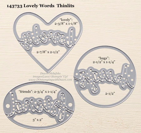 Stampin' Up! (143733) Lovely Words Thinlits measurements by Dawn Olchefske #dostamping