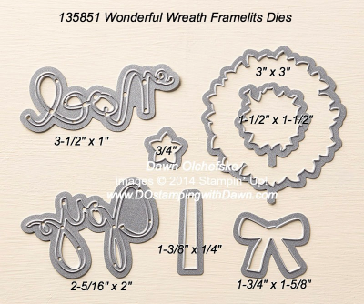 Wonderful Wreath Framelit sizes shared by Dawn Olchefske #dostamping #stampinup