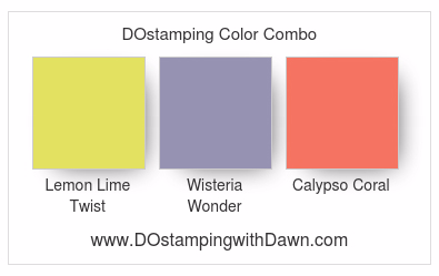 Stampin' Up! color combo Lemon Lime Twist, Wisteria Wonder, Coral Calypso #dostamping