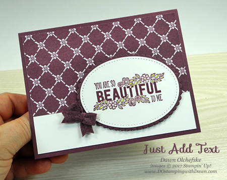 Stampin' Up! Just Add Text (with Fresh Fig In Color week) card by Dawn Olchefske for DOstamperSTARS Thursday Challenge #DSC234 #dostamping
