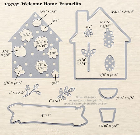 Stampin' Up! Welcome Home Framelit Dies sizes shared by Dawn Olchefske #dostamping