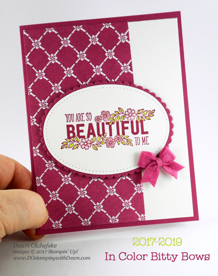 Stampin' Up! 2017-2019 Itty Bitty Bows & Just Add Text by Dawn Olchefske for DOstamperSTARS Thursday Challenge #DSC238 #dostamping