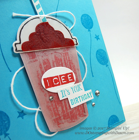 Stampin' Up! Coffee Café bundle ICEE frozen drink card shared by Dawn Olchefske #dostamping