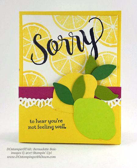 Stampin' Up! Lemon Zest Bundle card shared by Dawn Olchefske #dostamping #DOstamperSTARS #stampinup #lastchance (Bernadette Baio)