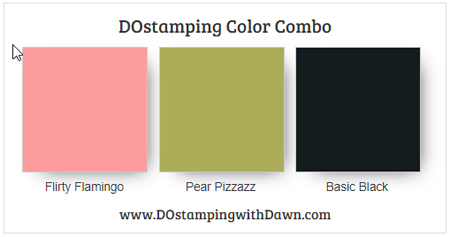 Stampin' Up! Color Combo Flirty Flamingo, Pear Pizzazz, Basic Black #dostamping