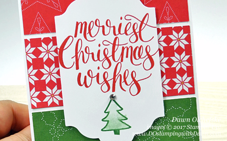 Quilted Christmas DSP card by Dawn Olchefske for DOstamperSTARS Thursday Challenge #DSC243 #dostamping (2017 Holiday Catalog coming 9/17), Stampin' Up! Watercolor Christmas