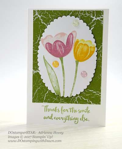 Sharing DOstamperSTARS Stampin' Up! creatsion #dostamping Host set Tranquil Tulips (Adrienne Hovey)