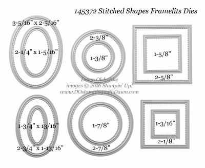 Stampin' Up! Stitched Shapes Framelits sizes shared by Dawn Olchefske #dostamping