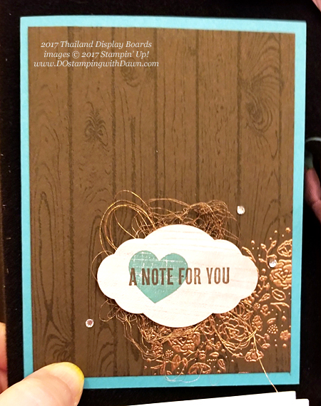 Stampin' Up! Wood Words stamp set shared by Dawn Olchefske #dostamping (Thailand display board)