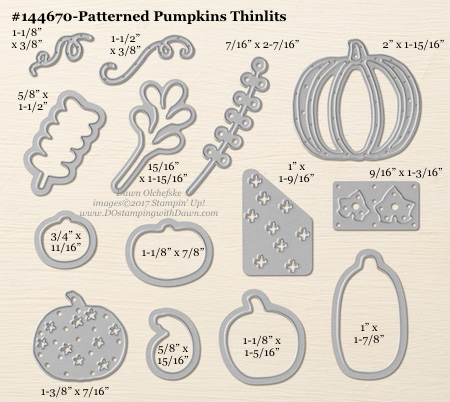 Stampin' Up! Patterned Pumpkins Thinlit Dies sizes shared by Dawn Olchefske #dostamping #stampinup