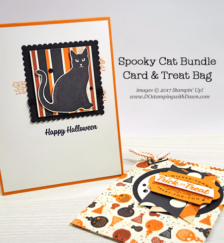 Stampin' Up! Spooky Cat Bundle QC card & Mini Treat Bag shared by Dawn Olchefske #dostamping #stampinup #handmade #cardmaking #stamping #diy #halloween #spookycat #packaging