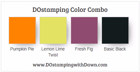 Stampin' Up! color combo Pumpkin Pie, Lemon Lime Twist, Fresh Fig, Basic Black from Dawn Olchefske #dostamping #colorcombo #stampinup #halloween