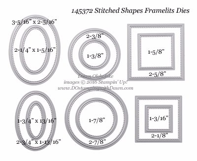 Stampin' Up! Stitched Shapes Framelits sizes shared by Dawn Olchefske #dostamping