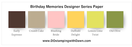 Stampin' Up! color combo (Early Espresso, Crumb Cake, Blushing Bride, Daffodil Delight, Lemon Lime Twist, Old Olive, Pacific Point, Pumpkin Pie, Real Red, Rich Razzleberry, Soft Sky, Sweet Sugarplum, Whisper White) by Dawn Olchefske #dostamping #stampinup #colorcombo