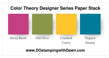 Stampin' Up! color combo (Berry Burst, Old Olive, Crushed Curry, Dapper Denim) by Dawn Olchefske #dostamping #stampinup #colorcombo