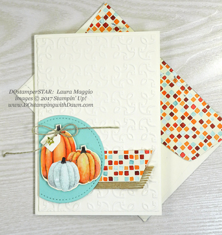 Stampin' Up! Painted Autumn Designer Series Paper & Garden Trellis Textured Impressions Embossing Folder shared by Dawn Olchefske #dostamping  #stampinup #handmade #cardmaking #stamping #diy #rubberstamping (Laura Maggio)