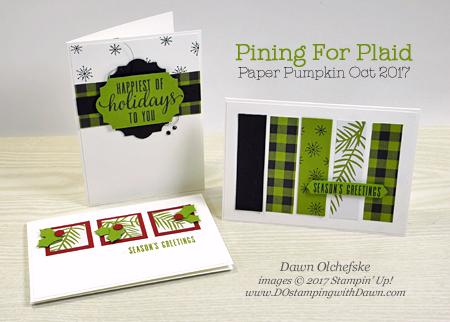 Stampin' Up! Pining for Plaid October 2017 Paper Pumpkin Kit ideas by Dawn Olchefske #stampinup #paperpumpkin #cardmaking #cardkit #rubberstamping #diy #piningforplaid #christmas