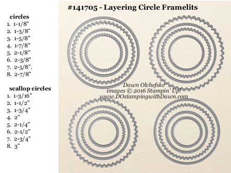 Layering Circles Framelits Dies sizes shared by Dawn Olchefske #dostamping #stampinup