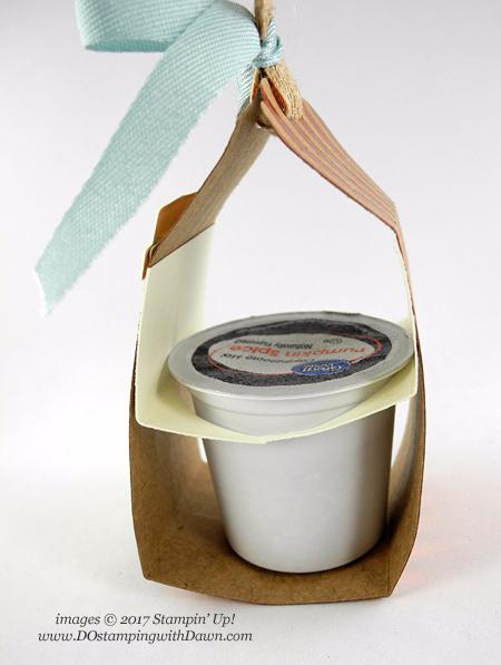 Stampin' Up! Merry Cafe K-Cup Holder shared by Dawn Olchefske #dostamping #stampinup #handmade #cardmaking #stamping #diy #rubberstamping #merrycafe #kcup #pumpkinspice