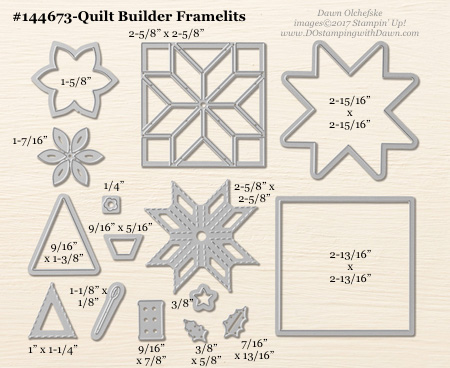 Quilt Builder Framelit sizes shared by Dawn Olchefske #dostamping #stampinup #framelits #thinlits #bigshot