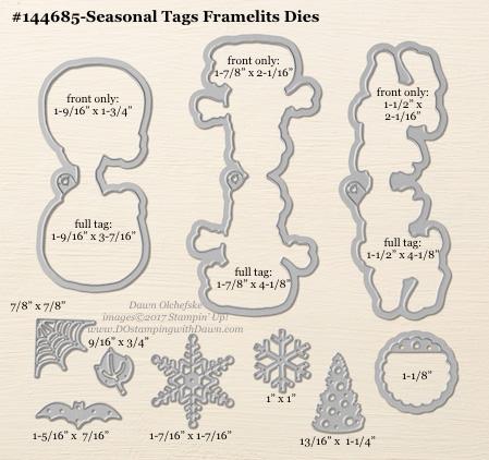 Seasonal Tags Framelits sizes shared by Dawn Olchefske #dostamping #stampinup #framelits #thinlits #bigshot